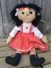 Vintage Primitive Style Country Rustic Raggedy Ann Doll, Black Hair Button Eyes