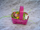 Polymer Clay Miniature Baby Doll Micro Mini Easter Basket Eggs Bunny Ooak