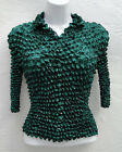 Dark Green Stretchy Long Sleeve Popcorn Top Blouses Shirt