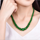 Beautiful Fashion 6-14mm New Natural Green Jade Round Beads Lucky Necklace