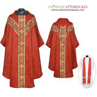 V COLLAR RED GOTHIC Vestment & Stole Set Lined Chasuble,Casel,Casulla, NEW