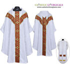 V COLLAR WHITE GOTHIC Vestment and Stole Set Lined Chasuble,Casel,Casulla,NEW