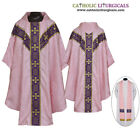 V COLLAR ROSE GOTHIC Vestment & Stole Set Lined Chasuble,Casel,Casulla, NEW