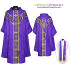NEW V COLLAR VIOLET GOTHIC Vestment &Stole Set Lined Chasuble,Casel,Casulla,