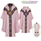 NEW V COLLAR ROSE GOTHIC Vestment & Stole Set Lined Chasuble, Casel, Casulla