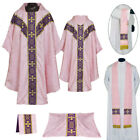 V COLLAR ROSE GOTHIC Vestment & 5 PC Mass Set Lined Chasuble,Casel,Casulla, NEW