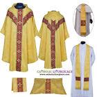 V COLLAR YELLOW GOTHIC Chasuble & 5 PC Mass Set Lined Chasuble,Casel,Casulla,NEW