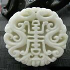 Natural hand-carved Lantian jade Ssangyong Lucky Amulet pendant Necklace