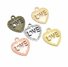 Wholesale 6pcs Tibet silver Love Heart Charm Pendant beads Jewelry Making DIY