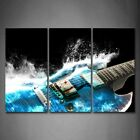 Framed Guitar Blue Waves Wall Art Painting Picture Canvas Print Music Pictures