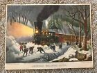 """Currier & Ives Cintage Color Litho Print AMERICAN RAILROAD SCENE 9.5"""" x 12.5"""""""