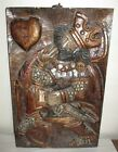 Vintage Carved Wooden Panel King of Hearts Wood Carving Wall Hanging French
