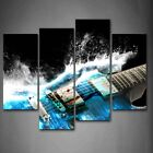 Framed Blue Guitar Waves Artistic Canvas Print Wall Art Painting Musical Picture