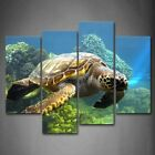 Framed 4 Panels Turtle Canvas Print Sea Life Wall Art Painting Animal Picture