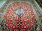 10x13 Wool Persian Kashan Red Unusual Size Hand-Knotted Living Room Rug