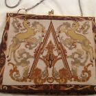 Victorian tapestry bag Austrian Micro Petit Point purse Embroidered Unicorns!!