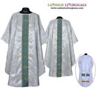 Metallic Silver Chasuble clergy vestment & Stole,Gothic chasuble,Casel,Casulla