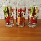 Vtg Mid Century Telephone Theme Collins Highball Glasses Set of 3 Red Gold MCM