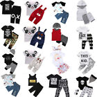 US Stock Toddler Baby Boy Summer Outfits Clothe Tops Pants 2PCS Set Kids Clothes