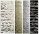 6mm SCRIPT LETTERS  NUMBERS Peel Off Stickers Card Making Gold or Silver