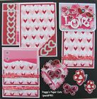 Premade Scrapbook Pages Mat Set Kit LOVE VDay Sewn Paper Album Layout pack890