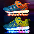 Kid USB Charging LED flash Light lace Casual mesh shoes Travel Trainers Sneakers