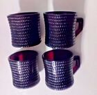 Hobnail Ruby Red Depression Glass Coffee Cups Mugs Set Of 4 Vintage