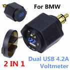Waterproof Motorcycle Dual USB Charger Adapter LED Voltmeter Powerlet For BMW