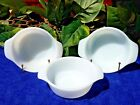 3 Vintage Anchor Hocking Milk Glass Handled Bowls White #472 Excellent Condition