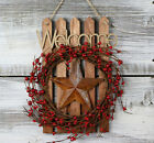 Pip Berry Wreath Welcome Primitive Front Door Decor Red Rusty Star 7 x 12 inch