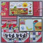 SALE Premade Scrapbook Pages Mat Set Kit GRILLIN  CHILLIN Sewn Layout pack890