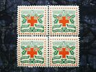 US Christmas Seal 1909 Red Cross Scott WX5 Block of 4 Perf 12 4S MNH