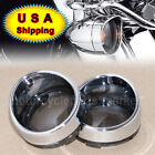 Smoked Turn Signal Lens Chrome Trim Ring Bezels Visor x2 For Harley Parts USA
