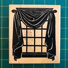 Posh Impressions Bold Window With Curtains Rubber Stamp Lightly Used Large
