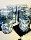 Hazel Atlas 3 Wedge Wood Blue Arabian Knights Tumblers 11 Ounce