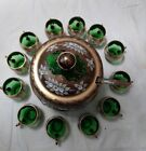 CZECH BOHEMIAN GOLD HI ENAMEL GREEN CRYSTAL GLASS PUNCH BOWL 12 CUPS LADEL