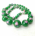 Vintage Jade Green Pink Roses Graduated Signed Czech Glass Beads Necklace 165