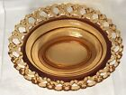 Vintage Westmoreland Amber Glass Candy Dish Bowl w/ Open Lace Rim Design