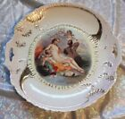 Antique Hand Painted Porcelain Cake Plate Whimsy Nautical Scene Francis Boucher