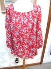 CHAPS RED BLUE WHITE YELLOW FLORAL GAUZE PEASANT 3 4 SLEEVE TOP SIZE 3X NWT
