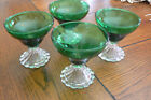 4 Vintage Anchor Hocking Green Burple Boopie Berwick Champagne Sherbet Glasses
