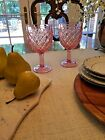 L E SMITH Pink Goblet Wine Juice Footed Glass Trellis Pattern Lot of 2
