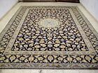 10X13 1960s EXQUISITE MASTERPIECE MINT 200KPSI ANTQ NAVY WOOL KASHAN PERSIAN RUG