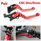 1 Pair Motorcycle GY6 Brake Lever Adjustable CNC Disc/Drum Hand Brake-horns- Red