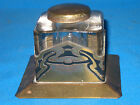 Antique ART NOUVEAU 3 1 4 inch Brass and Glass Inkwell