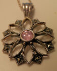 FLOWER SHAPED PENDANT CHARM WITH PINK CENTER STONE  CHAIN 925 STERLING SILVER