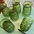 Vintage Small Drinking Glasses Avocado Green Ribbed Textured Glass - Set of 6