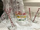 VINTAGE RETRO GLASS DRINKS PITCHER RED POLKA DOT SUMMER ICE TEA LEMONADE!