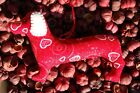 Primitive Valentines Day Red Heart Swirl Glitter Print Dachshund Ornie, Ornament