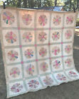 Antique Vtg Flower Quilt Patchwork Feedsack 79x82 Twin Full Double Wall Hanging